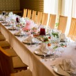 Stock Photo: Luxury banquet table setting at restaurant