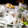 Table with crockery at restaurant close-up — Stok fotoğraf