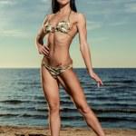 Sexy brunette in bikini posing on the beach — Stock Photo #31620827
