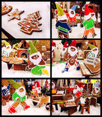 Collage of Christmas gingerbread cookies — Stock Photo