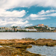 Panoramic view of Ibiza city and Mediterranean Sea. Spain — Stock Photo