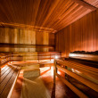 Inside of modern Finnish sauna — Stock Photo