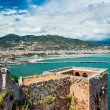 View of The Kizil Kule (Red Tower) and harbor of Alanya. Turkey — ストック写真