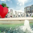 Stock Photo: Love Antalya, famous fountain in centre of Antalya, Turkey