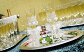 Glasses of champagne for a wedding reception — Foto Stock