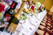 Cadre de table de banquet de luxueux restaurant — Photo