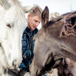 Stock Photo: Mand horses outdoors