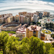 Stock Photo: Panoramic view of Malaga bullring and harbor. Spain