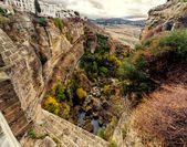 Amazing view of the Ronda canyon and the famous white village. — Stock Photo