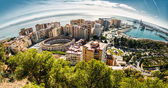 Panoramic view of Malaga bullring and harbor. Spain — Stock Photo