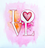 Word LOVE over abstract watercolor painting and red heart — Stock Photo