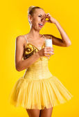 Ballerina with glass of milk — Stock Photo