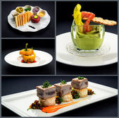 Collage of healthy starters and main courses — Stock Photo
