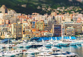 Amazing view of Principality of Monaco with tilt-shift effect — Stock Photo
