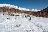 Passo di montagna, itinerario lungo un crinale. penisola di Kamchatka, russia — Foto Stock