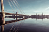 Cable-stayed bridge across Daugava river in Riga, Latvia. — Stock Photo