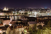 View of Pest at night, eastern part of Budapest. Hungary — Stock Photo