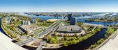 Panoramisch bovenaanzicht van stad riga, Letland — Stockfoto
