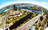 Aerial panoramic fish-eye view of Riga city. Latvia — Stock Photo