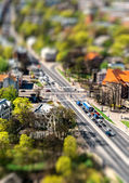 Riga city road with tilt-shift effect. Latvia — Stock Photo