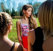 Female students outdoors — Stock Photo