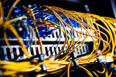 Fiber-optic equipment in a data center — Stock Photo