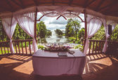 Inside of beautiful wedding gazebo  — Stock Photo