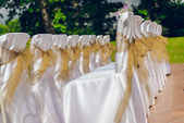 White wedding chairs with brown bows outdoors — Stock Photo