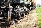 Primer plano de las ruedas del tren oxidado viejo — Foto de Stock