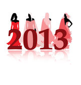 Fashion girls presenting 2013 year — Stock Vector