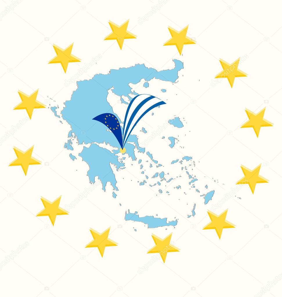 希腊的旗子和星星,矢量图的地图— 矢量图片作者 pavars