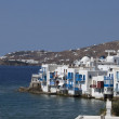View on mysterious Mykonos city — Stock Photo