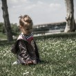 Little Girl at a Green Park — Stock Photo