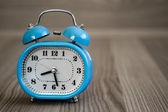 Retro Alarm Clock on Wooden Table — Foto de Stock