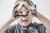 Little Girl Playing With Colors — Stock fotografie