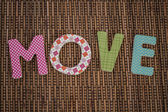 Move Text Written on Brown Rattan — Stock Photo