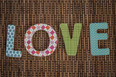 Love Text Written on Brown Rattan — Stok fotoğraf