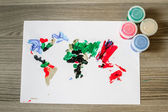 World Map, Painted by Finger Paint — Stock Photo