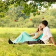 Under a tree hugging — Stock Photo