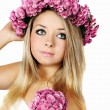 Blonde in a wreath — Stock Photo
