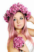 Pink-haired woman — Stock Photo