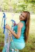Swinging on a swing — Stock Photo