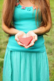 Woman and heart — Stock Photo