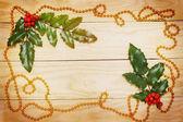 Leaf ilex and garland — Stock Photo