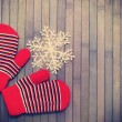 Stock Photo: Gloves with snowflake.tinted