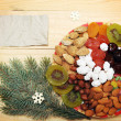Plate with dried fruit — Stock Photo