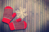 Gloves with snowflake.tinted — Foto Stock