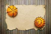 Orange with paper — Stock Photo