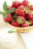 Strawberries in basked — Stock Photo