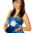 Woman holding a gift box — Stock Photo #19444815